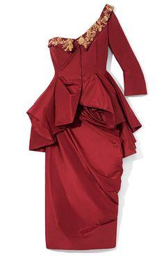 DESIGNER: MARCHESA  SEE DETAILS HERE:Taffeta One-Shoulder Cocktail Dress