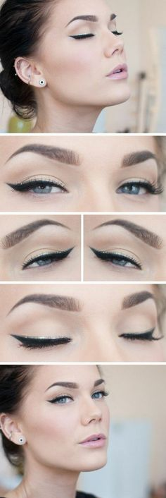 69 Trendy Makeup For Beginners How To Apply Eyeliner Simple Eyeliner, Winged Eyeliner, Simple Makeup, Silver Eyeliner, Apply Eyeliner, Cat Eye Makeup, Natural Eye Makeup, Makeup Eyeshadow, Natural Eyeshadow