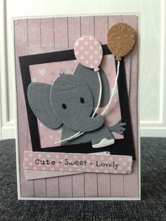 Little Rosa - olifant MD Hand Made Greeting Cards, Making Greeting Cards, Pretty Cards, Cute Cards, Baby Scrapbook, Scrapbook Cards, Baby Shower Invitaciones, Karten Diy, Card Sentiments
