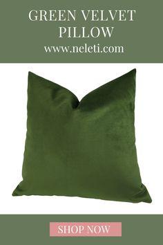 Green velvet pillow made in different sizes. Handmade Cushion Covers, Handmade Cushions, Decorative Pillow Covers, Throw Pillow Covers, Green Velvet Pillow, Green Throw Pillows, Velvet Cushions, How To Make Pillows, Handmade Shop