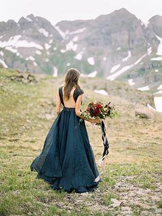 Dramatic mountain bridal shoot