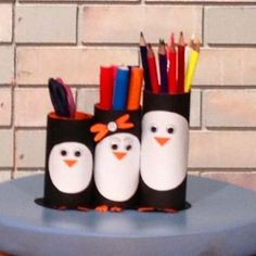 porte-crayons rouleaux pingouins: