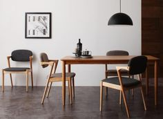 ユハナ [Juhana] シンプルなテーブル、ハーフアームのシャープなチェア、大人気北欧ダイニングテーブルセット