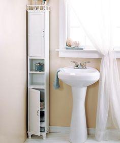 "White 65"" Slim Storage Cabinet W/Shelves Bathroom Kitchen Laundry/Living Room"