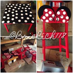 The Minnie Mouse table and chairs I designed and handmade for my daughters. Paint is just drying! - Check out my board for the finished photo, with the table and chairs all set up. Mickey Mouse Table, Minnie Mouse Party, 2nd Birthday Gifts, Disney Furniture, Disney Classroom, Disney Rooms, Little Girl Birthday, Cardboard Furniture, Do It Yourself Crafts