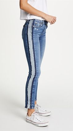 7 For All Mankind Roxanne Ankle Jeans with Reverse Fray Tux   SHOPBOP