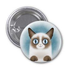 Curious Siamese Kitten Round Button