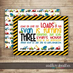 Construction Birthday Invitation / Boy's 1st, 2nd, 3rd, 4th Birthday / Trucks / Construction Party - Printable