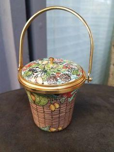 "Halcyon Days Enamels 1988 Potpourri Basket Fruit Motif 4.5""tall with Handle"