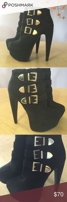 Hott Black High Heel Bootie's W/ Gold Buckles Never Worn! In Excellent Condition !! Purchased from Shi a few years ago & just never wore them. Perfect for Fall!!  Shi Shoes Ankle Boots & Booties