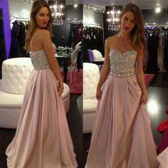 Elastische Gewebe Satin Abendkleider Ballkleider rosa lang