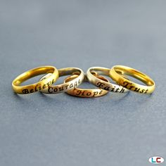 Set of 5 Inspiration Rings in ION Plated Rose Gold, Yellow Gold, and Stainless Steel | Liquidation Channel