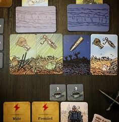 Gaston lost the plot, became overwhelmed with fear and couldn't function, we died covered in mud, in the trenches, after a long and terrible battle. RIP Gaston and Anselme. Adieu. #TheGrizzled #Tignous #war #tabletop #cardgame #wwi #tabletopgame #tabletopgamer ##boardgame #brettspiel #juegodemesa #boardgamegeek #bgg