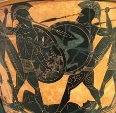 """Fight over Patrklos - Big Ajax, on the left, holds a """"Boeotian"""" shield, either an artistic adaptation of the ancient Mycenaean figure-of-eight shield or an actual shield shape (but no such shield has been found). His opponent is presumably Hector. Greek History, Ancient History, Art History, Mycenaean, Minoan, Sumerian, Ancient Greek Art, Ancient Greece, Memento Mori"""