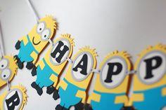 Minion inspired Birthday Banner Despicable par RaisinsPartySupplies