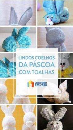 Como fazer coelhinho de toalha passo a passo - Artesanato de páscoa Dinosaur Stuffed Animal, Crochet Hats, Toys, Animals, Tissue Poms, Handmade Toys, Easter Crafts, Pillow Pets, Easter Bunny