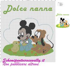 Baby Topolino e pluto con pulcino schema punto croce per copertina