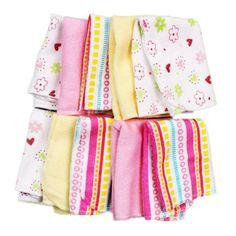 Amazon.com : Spasilk Washcloths, Pink Stripes, 10 Count : Baby $6.99