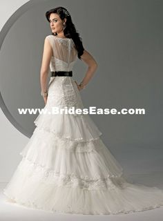 Colored Fitted A-line Sweetheart Sash Tiered Chiffon Lace Wedding Dresses