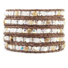Chan Luu - Natural Mix Crystal Wrap Bracelet on Natural Brown Leather, $195.00 (http://www.chanluu.com/wrap-bracelets/natural-mix-crystal-wrap-bracelet-on-natural-brown-leather/?page_context=category