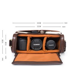New Dark Brown Camera Bag With Handle - Large. Our new Dark Brown Camera Bag is a more sophisticated older sibling of our standard camera bags. Still as stylish and ugly-free. We've added a secure handle on the top (trust us, this is convenient) and a double layered covering to protect your precious tech gear even more.