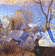 """""""Springtime in the Village 1917 by Daniel Garber. 1880 - 1958 American Museums: The James A. Impressionist Landscape, Abstract Landscape, Landscape Paintings, Michener Art Museum, American Impressionism, Building Art, Paintings I Love, American Artists, Painting Inspiration"""
