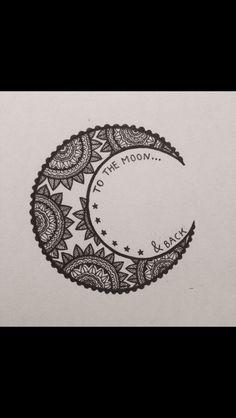 i love you to the moon and back // mandala moon art zentangle doode Henna Tatoos, Henna Tattoo Designs, Henna Art, Cool Tattoos, Design Tattoos, Mehandi Designs, Wrist Tattoos, Tattoo Ideas, Mandala Drawing