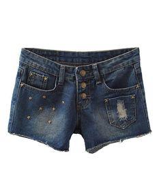 Denim Cut Off Shorts with Star Rivets Embellishment