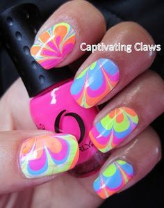 Captivating Claws: Weekly Water Marble I've heard Sally Hansen polish works well for this Neon Nails, Love Nails, Pretty Nails, Beautiful Nail Designs, Cute Nail Designs, Pedicure Designs, Water Marble Nail Art, Tie Dye Nails, Flower Power