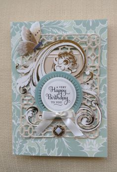 Card by Vickie Blakeslee. Anna Griffin Garden Windows kit used with Fretwork cutting die by AG for the Cuttlebug .