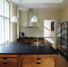 Teak kitchen - exactly in the style I want; think Tom Dixon copper pendants overhead Kitchen Black Counter, Home Kitchens, Rustic Kitchen, Kitchen Inspiration Design, Kitchen Cabinet Styles, Solid Wood Kitchens, Walnut Kitchen, Scandinavian Kitchen Design, Walnut Kitchen Cabinets