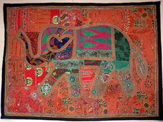 HANDMADE ELEPHANT BOHEMIAN PATCHWORK WALL HANGING EMBROIDERED TAPESTRY INDIA X17…