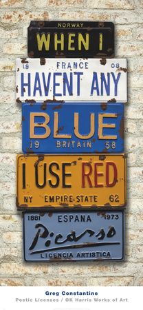 find old license plates to form a sentance!