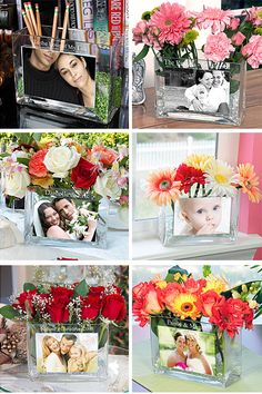 Beautiful Personalized Glass Photo Vase - Perfect Gift for Mom, Grandma, Girlfriend or As a Wedding Gift!
