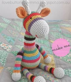 Crochet a Cute Stripey Giraffe Amigurumi With a Free Pattern From Emma of I Love Buttons Crochet Pattern Free, Crochet Giraffe Pattern, Softie Pattern, Crochet Animal Patterns, Stuffed Animal Patterns, Crochet Patterns Amigurumi, Crochet Animals, Amigurumi Giraffe, Mini Amigurumi