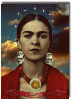 Frida Kahlo Art Print Original 5x7 Signed  Mixed Media Collage Sun Moon Stars.