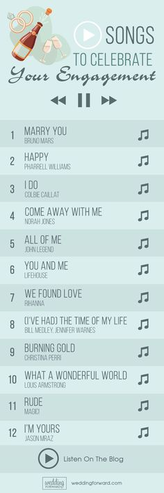Top Engagement Songs For Your Party ❤ See more: http://www.weddingforward.com/engagement-songs/ #weddings