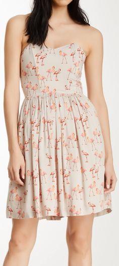 Flamingos print dress