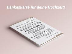 """**Einfach DANKE sagen!** Mit """"persönlichen"""" Karten für deine Hochzeit!  **Produktgröße:** A6 (148mmx105mm) **Papierart**: Leinenstruckturkarton  (Leinenstrukturkarton bei mind. 25 bestellten..."""
