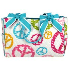 $15.50 Quilted Playful Peace Diaper Bag with Turquoise Trim  (Shown with Optional Applique Personalization)