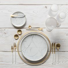 RENT: Halo Glass Chargers in 24k Gold + Carrara Dinnerware + Goa Flatware in Brushed 24k Gold/White + 14k Gold Salt Cellars + Tiny Gold Spoons SHOP: Halo Glass Chargers in 24k Gold + Carrara Dinnerware + Goa Flatware in Brushed 24k Gold/White + Bella 24k Gold Rimmed Stemware in White + 14k Gold Salt Cellars + Tiny Gold Spoons