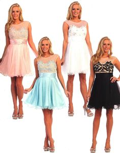 Prom Dresses Bridesmaid Dresses under $100<BR>8845<BR>Short dress, sheer scoop neckline on sweetheart bodice, lace up back!