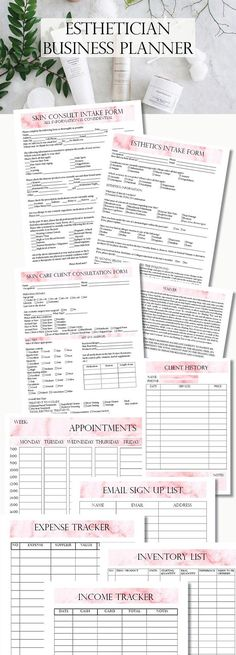Esthetician Business Planner Skin Care Consultation Facials