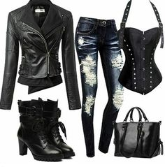 Chill but sexy mode Komplette Outfits, Casual Outfits, Fashion Outfits, Womens Fashion, Bad Girl Outfits, Casual Wear, Mode Rockabilly, Corset Outfit, Badass Outfit