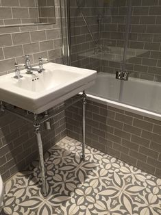 Vintage metro meets floral cement tiles in this stunning bathroom combination. Vintage metro me Bathroom Tile Designs, Bathroom Floor Tiles, Downstairs Bathroom, Bathroom Ideas, Bathroom Green, Rv Bathroom, Wall Tiles, Master Bathroom, Remodel Bathroom