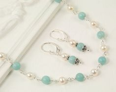 Amazonite necklace set, amazonite and pearl, wire wrapped pearl necklace set, hand made jewelry $75.00