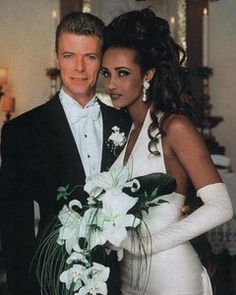 Supermodel Iman Abdulmajid and David Bowie.  They've been married since 1992!