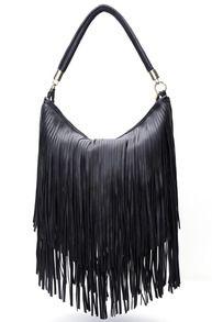 Black Tassel PU Bag
