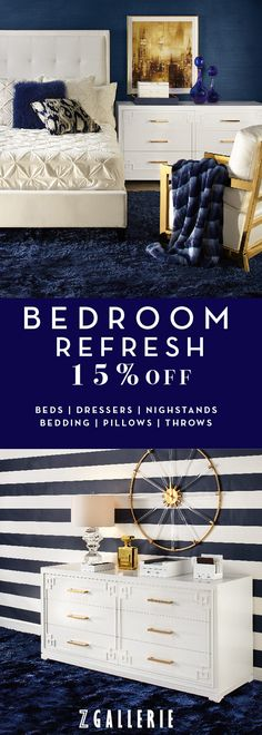 Fashion a beautiful bedroom for your best beauty rest. Luxe bedding & throws, polished nightstands, and eclectic decor are now 15% OFF in stores + online w/ code BEDROOM15.