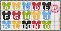 Cross Stitch Alphabet Patterns, Embroidery Alphabet, Pearler Bead Patterns, Cross Stitch Letters, Needlepoint Patterns, Cross Stitch Embroidery, Stitch Patterns, Cross Stitches, Disney Letters